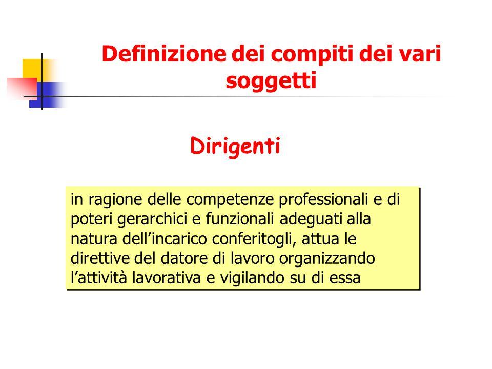 Definizione dei compiti dei vari soggetti