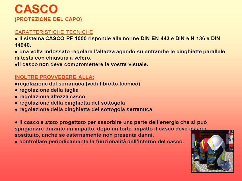 CASCO (PROTEZIONE DEL CAPO) CARATTERISTICHE TECNICHE ● il sistema CASCO PF 1000 risponde alle norme DIN EN 443 e DIN e N 136 e DIN 14940.