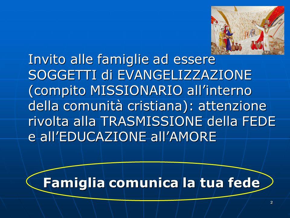 Invito alle famiglie ad essere SOGGETTI di EVANGELIZZAZIONE (compito MISSIONARIO all'interno della comunità cristiana): attenzione rivolta alla TRASMISSIONE della FEDE e all'EDUCAZIONE all'AMORE