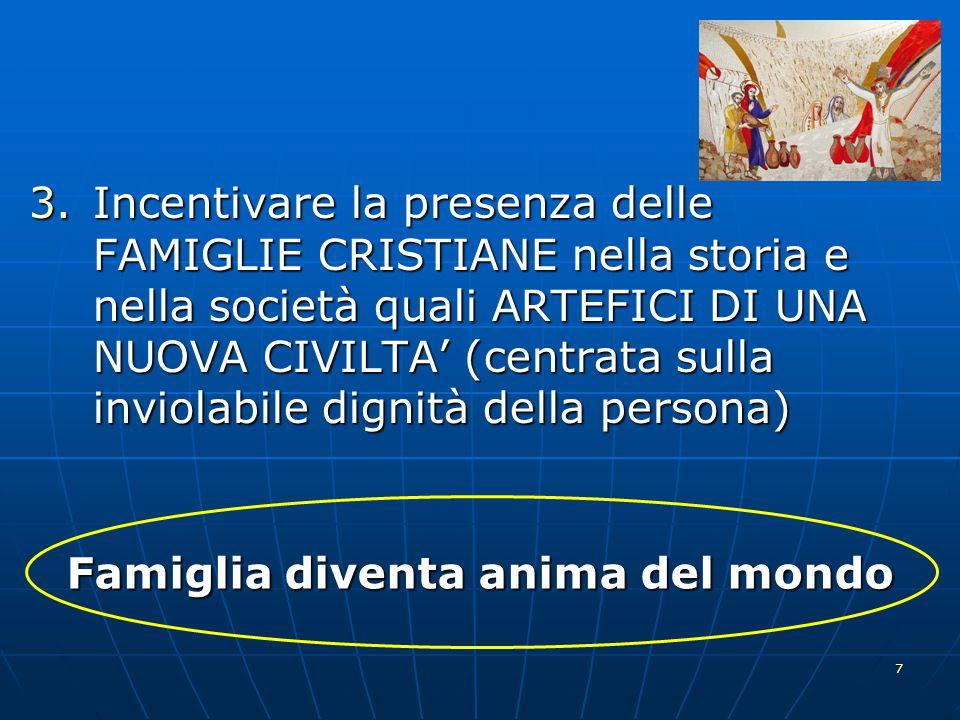 Incentivare la presenza delle FAMIGLIE CRISTIANE nella storia e nella società quali ARTEFICI DI UNA NUOVA CIVILTA' (centrata sulla inviolabile dignità della persona)