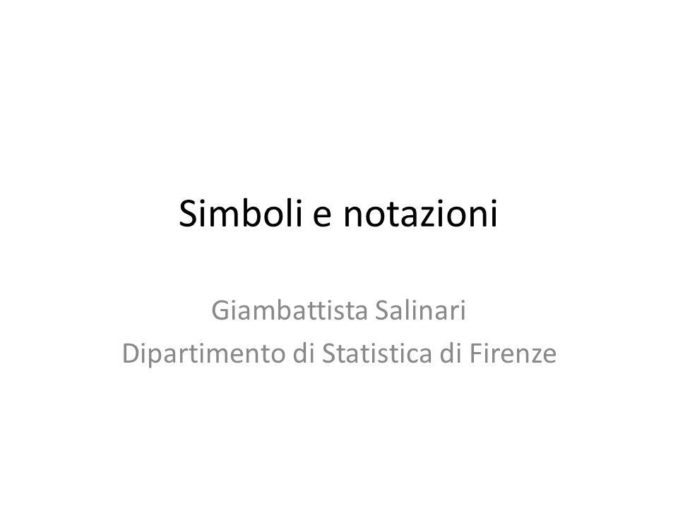 Giambattista Salinari Dipartimento di Statistica di Firenze