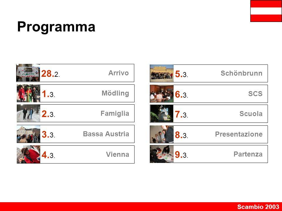 Programma 28.2. Arrivo. 5.3. Schönbrunn. 1.3. Mödling. 6.3. SCS. 2.3. Famiglia. 7.3. Scuola.