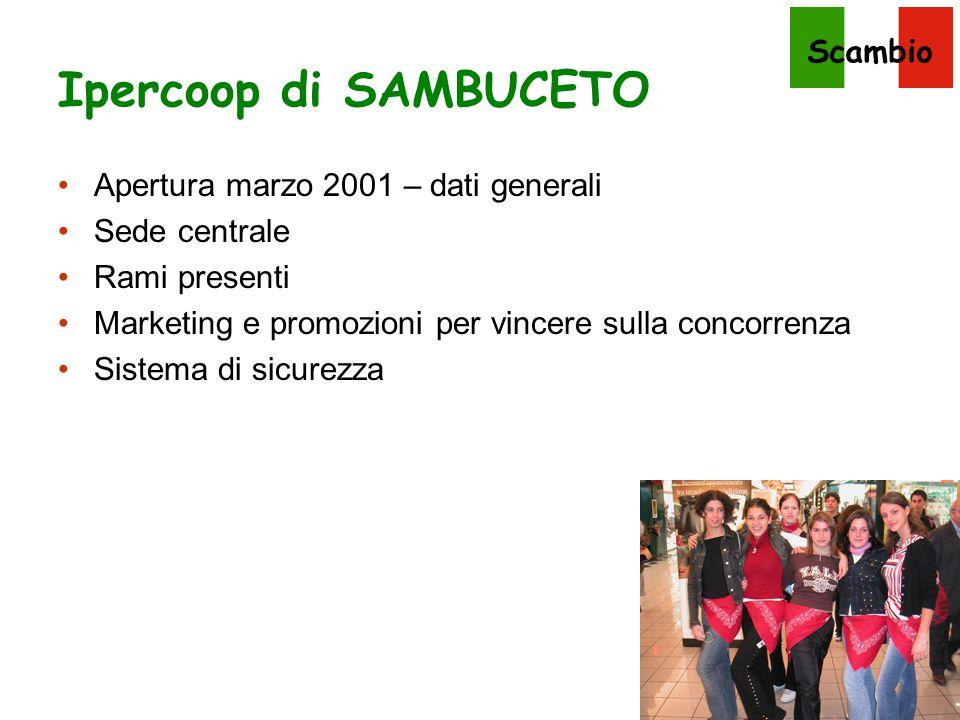 Ipercoop di SAMBUCETO Apertura marzo 2001 – dati generali