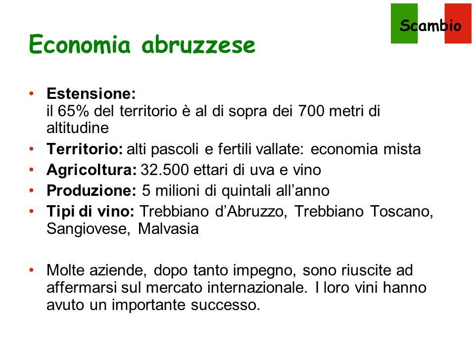 Economia abruzzese Estensione: il 65% del territorio è al di sopra dei 700 metri di altitudine.