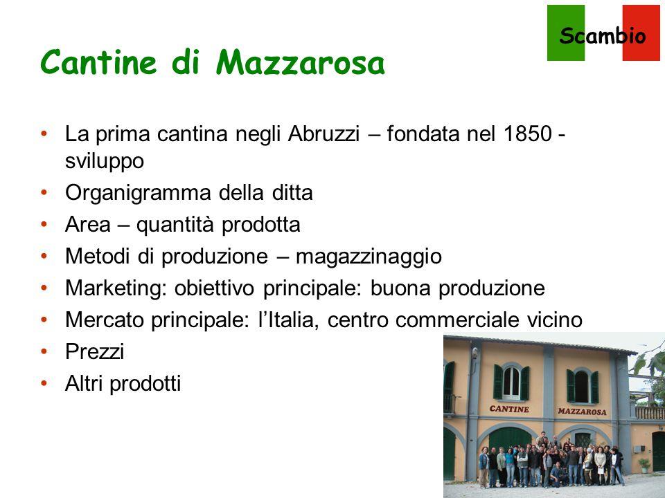Cantine di Mazzarosa La prima cantina negli Abruzzi – fondata nel 1850 - sviluppo. Organigramma della ditta.