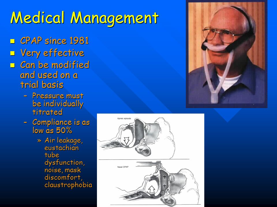 Medical Management CPAP since 1981 Very effective