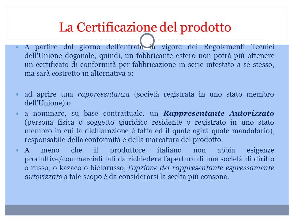 La Certificazione del prodotto