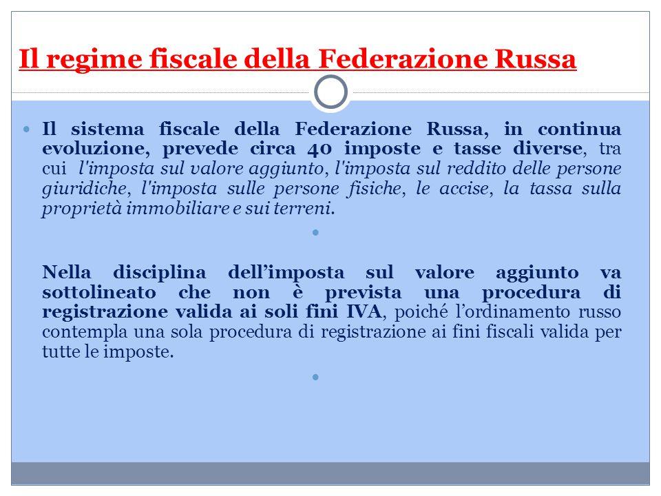 Il regime fiscale della Federazione Russa