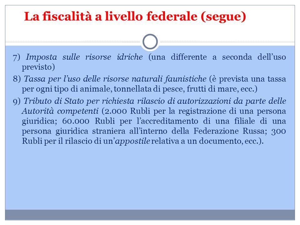 La fiscalità a livello federale (segue)