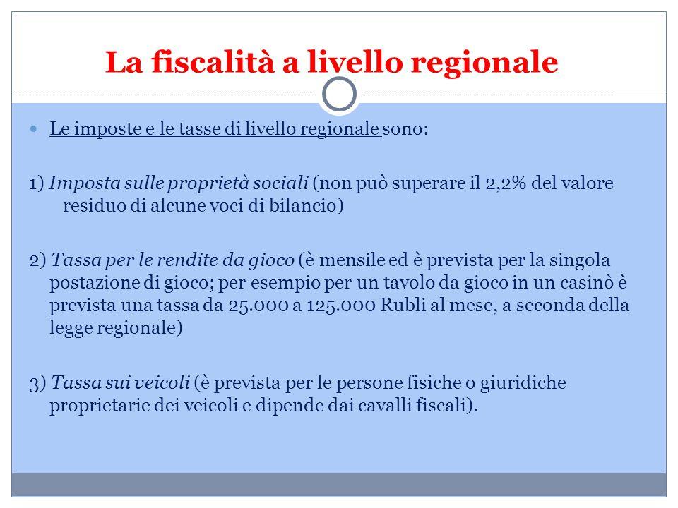 La fiscalità a livello regionale