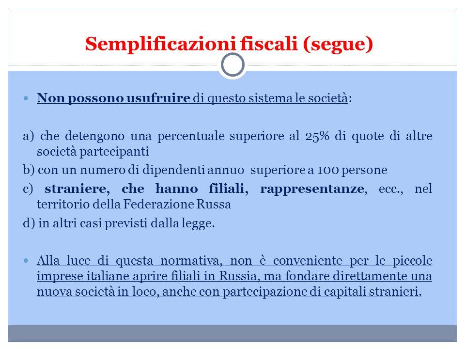 Semplificazioni fiscali (segue)