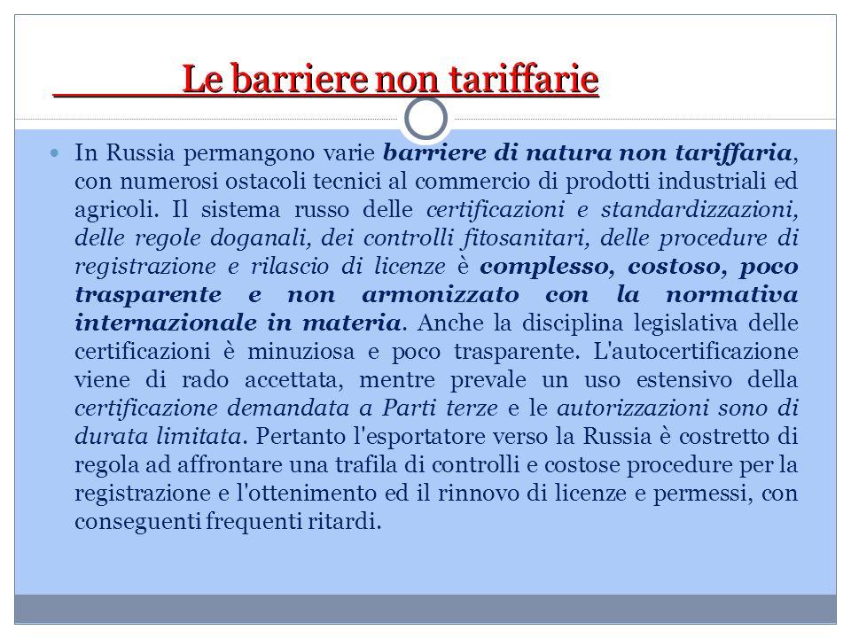 Le barriere non tariffarie