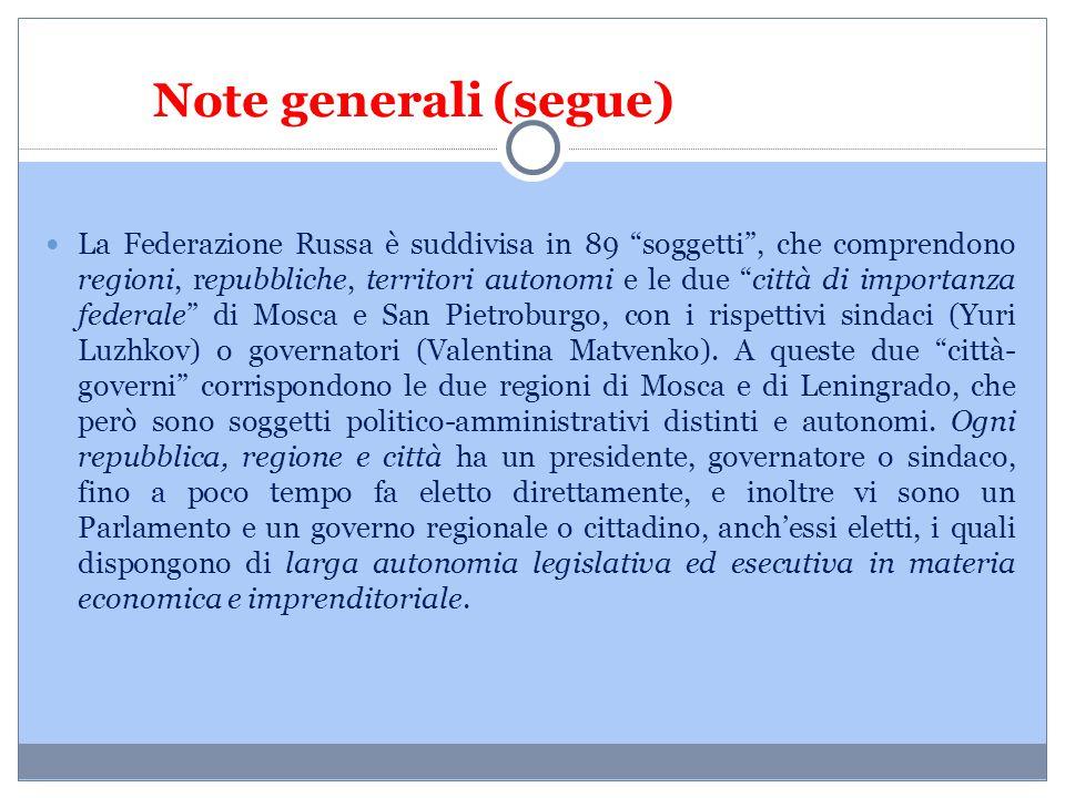 Note generali (segue)