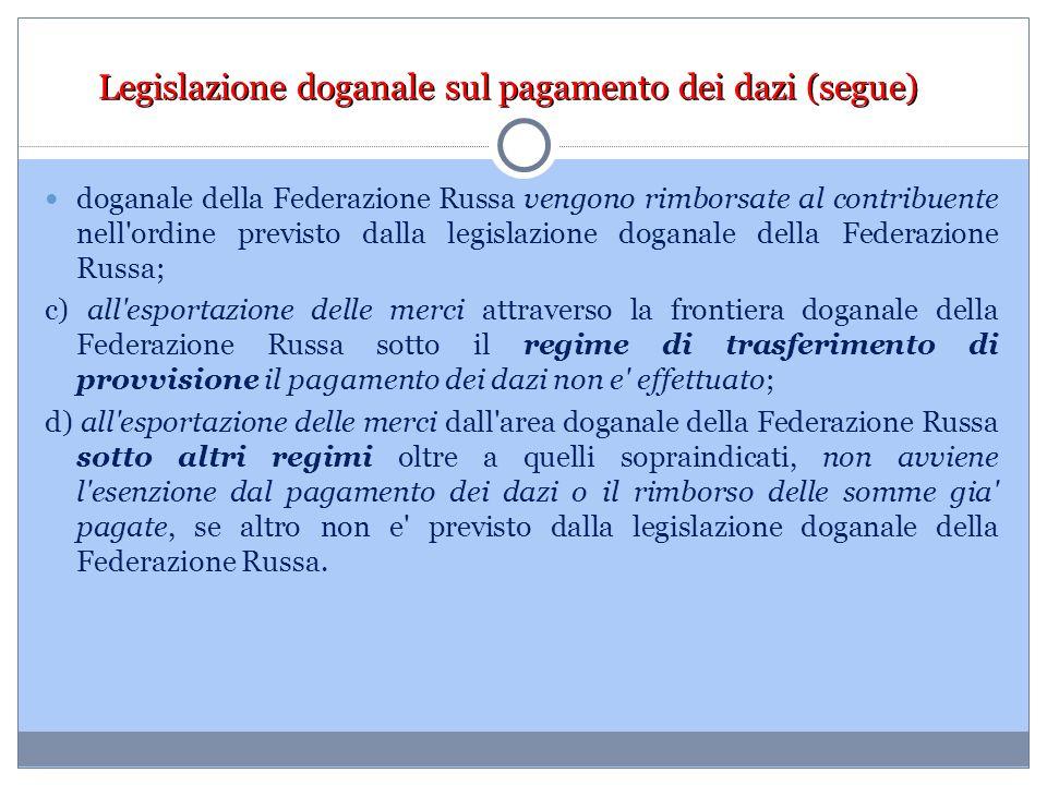 Legislazione doganale sul pagamento dei dazi (segue)