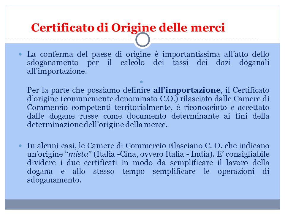 Certificato di Origine delle merci
