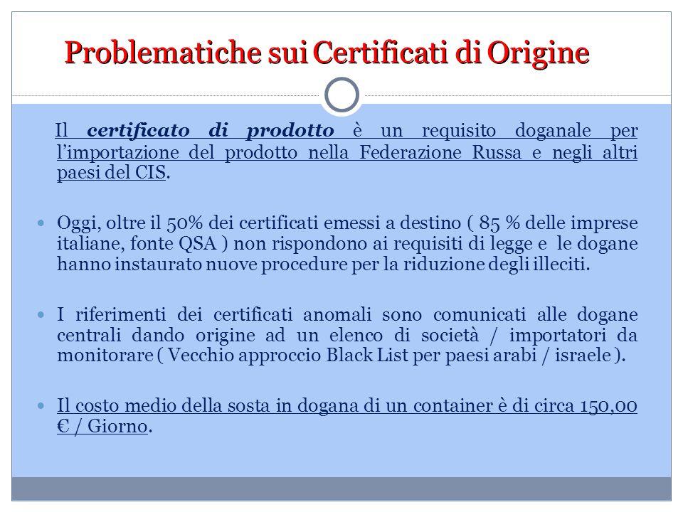 Problematiche sui Certificati di Origine