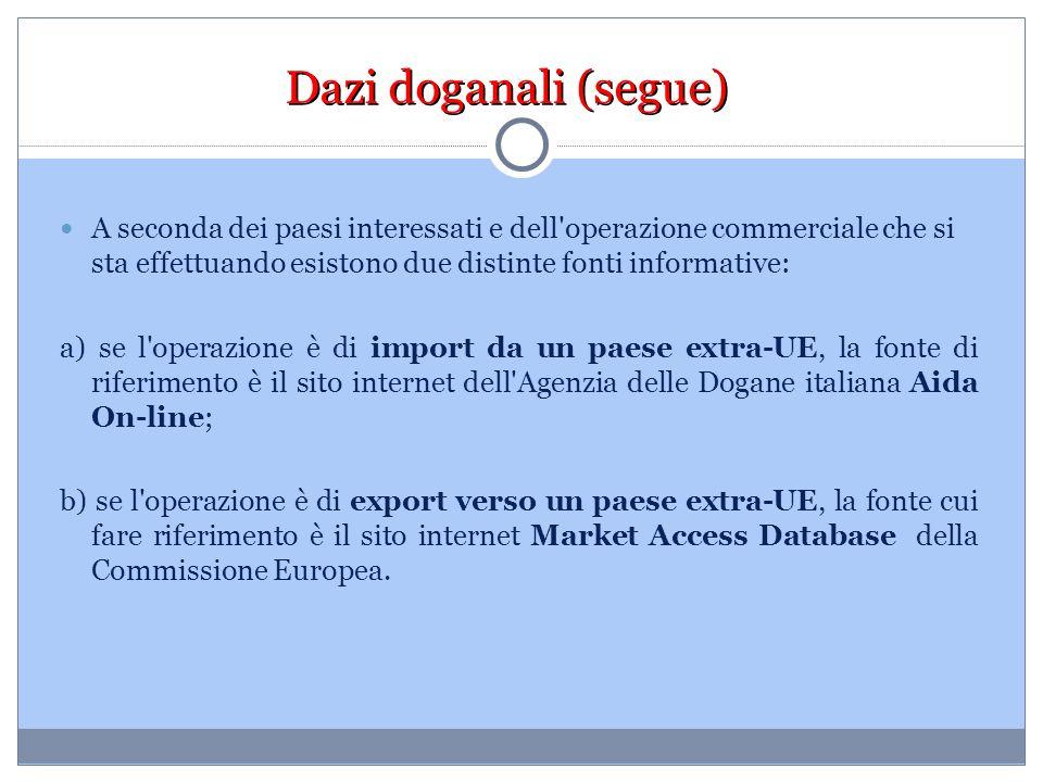 Dazi doganali (segue) A seconda dei paesi interessati e dell operazione commerciale che si sta effettuando esistono due distinte fonti informative: