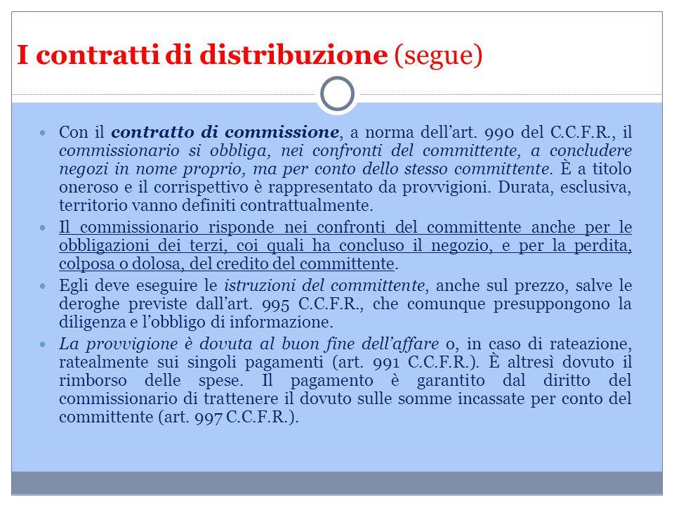 I contratti di distribuzione (segue)