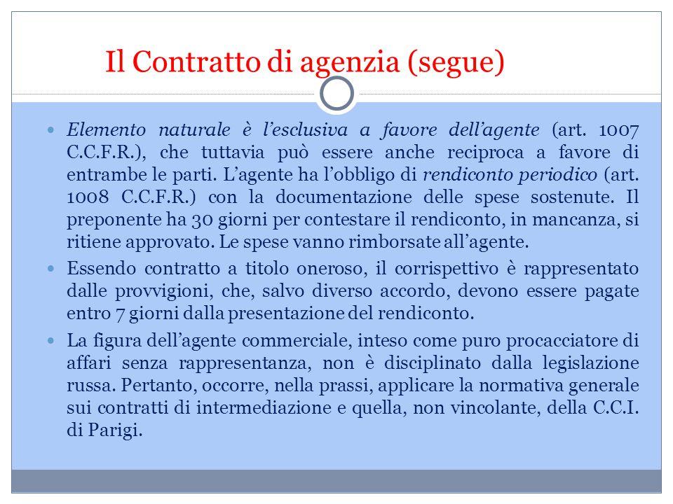 Il Contratto di agenzia (segue)