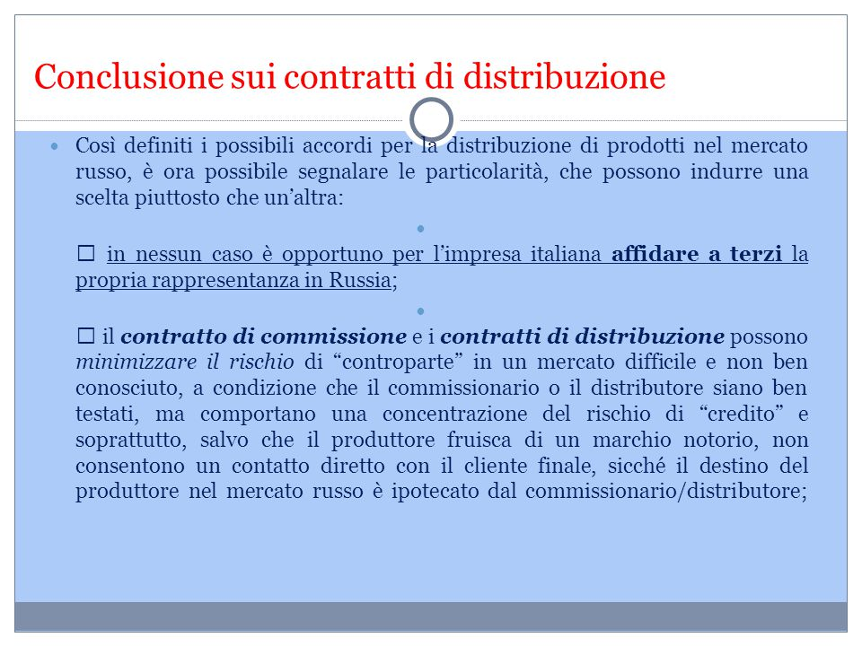 Conclusione sui contratti di distribuzione