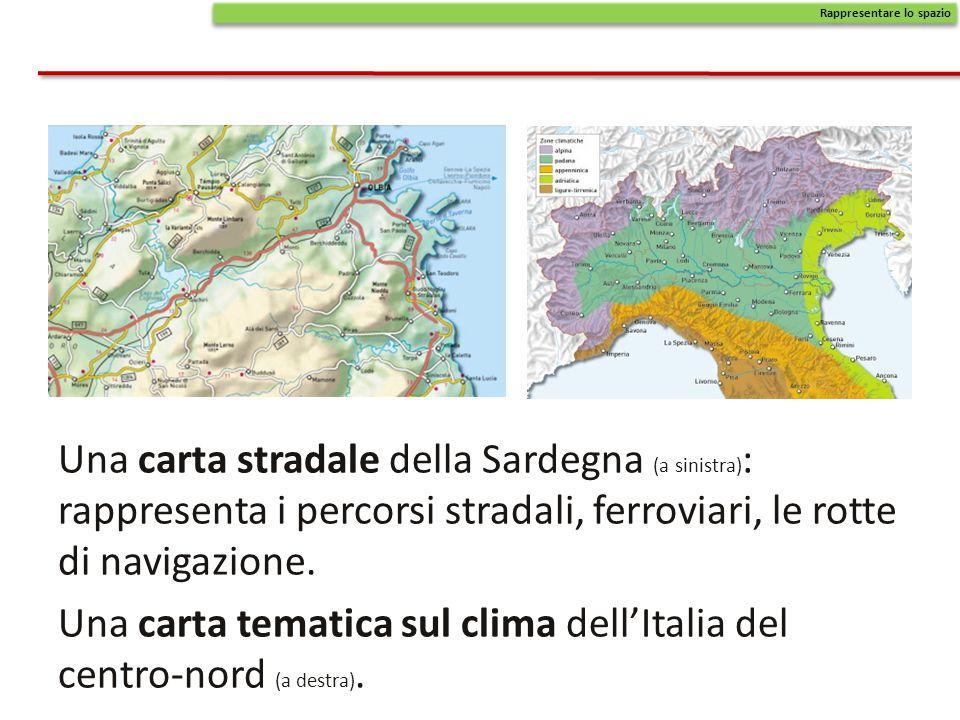 Una carta tematica sul clima dell'Italia del centro-nord (a destra).