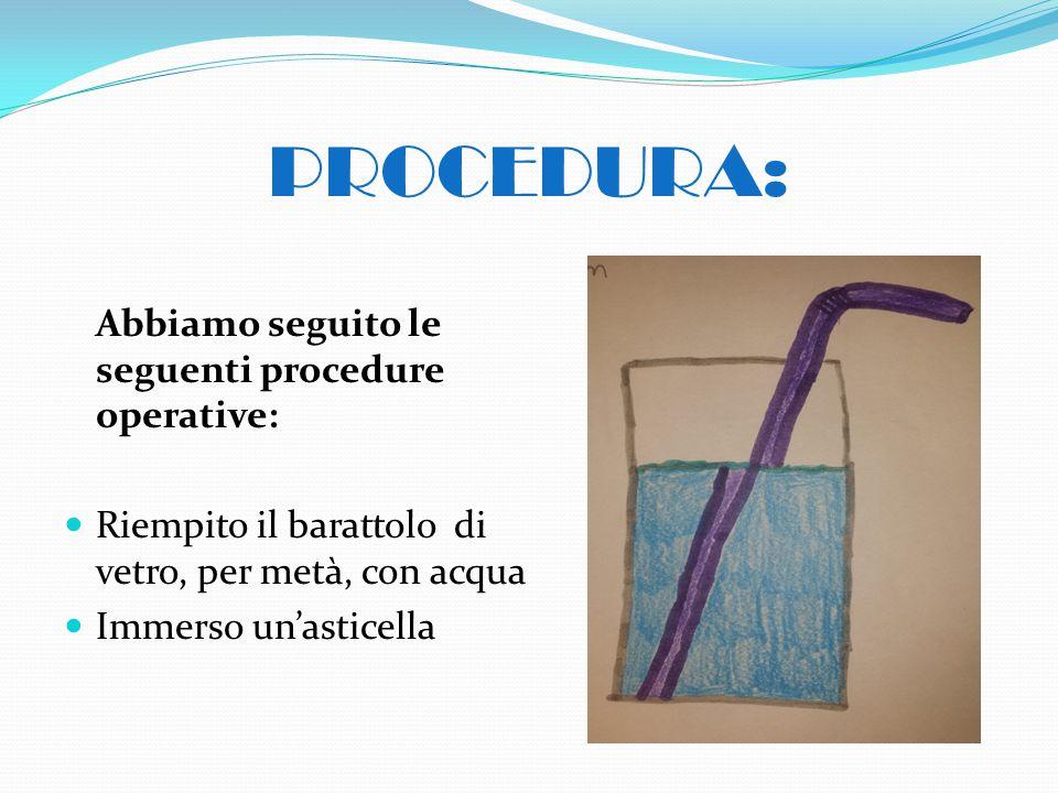 PROCEDURA: Abbiamo seguito le seguenti procedure operative: