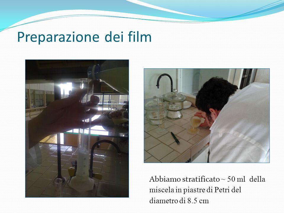 Preparazione dei film Abbiamo stratificato ~ 50 ml della miscela in piastre di Petri del diametro di 8.5 cm.