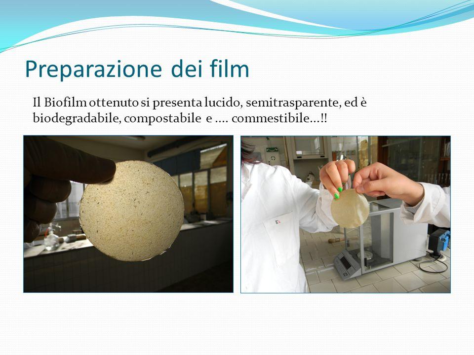 Preparazione dei film Il Biofilm ottenuto si presenta lucido, semitrasparente, ed è biodegradabile, compostabile e ....