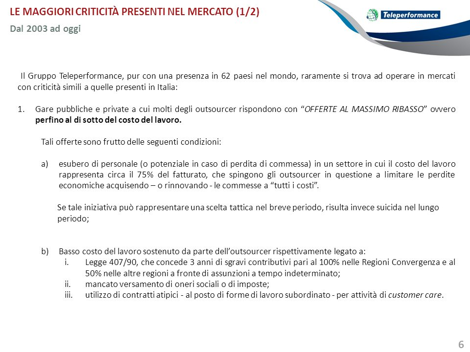 LE MAGGIORI CRITICITÀ PRESENTI NEL MERCATO (1/2)