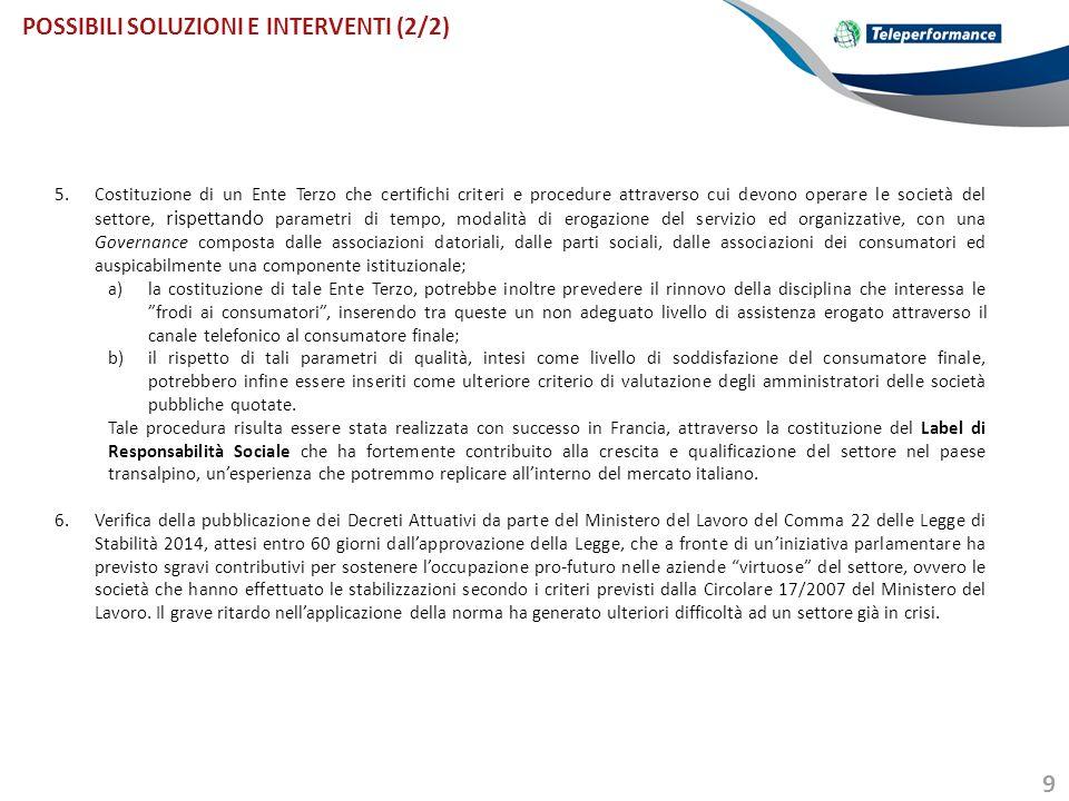 POSSIBILI SOLUZIONI E INTERVENTI (2/2)