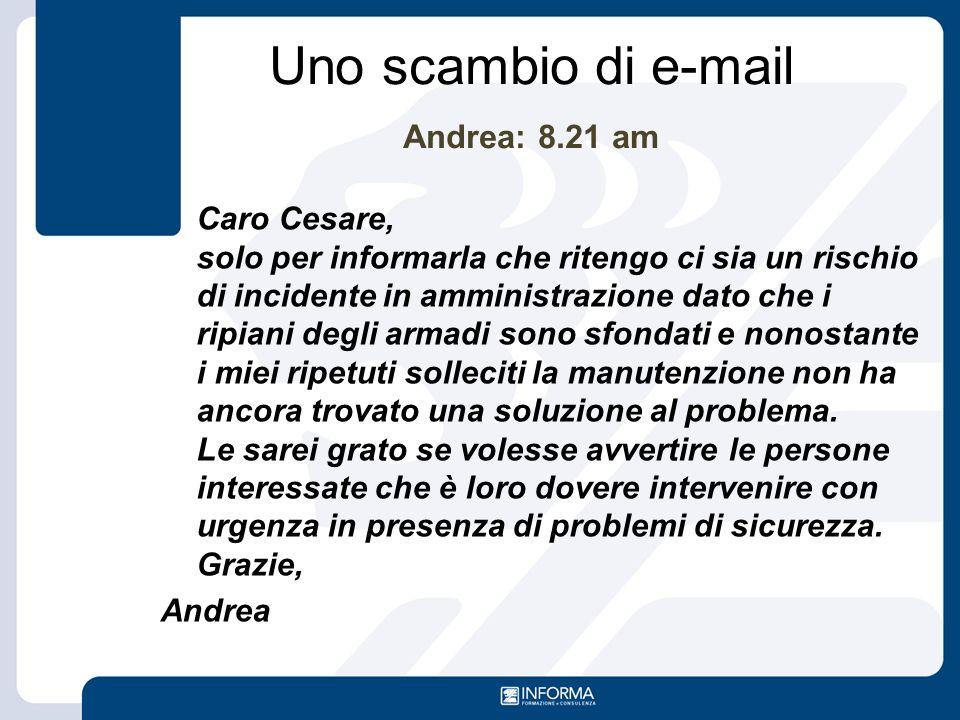 Uno scambio di e-mail Andrea: 8.21 am
