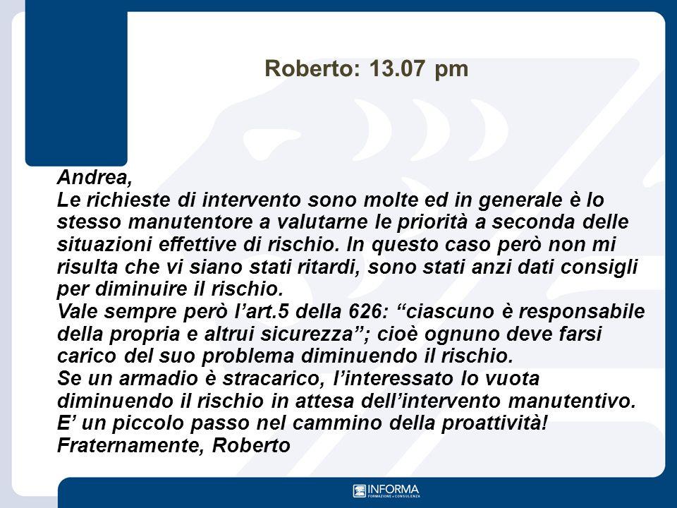 Roberto: 13.07 pm