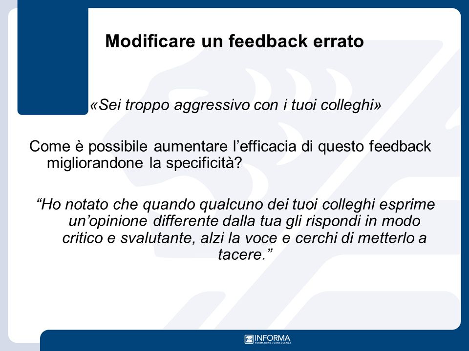 Modificare un feedback errato