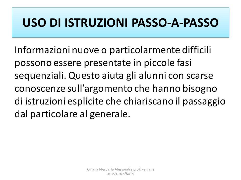 USO DI ISTRUZIONI PASSO-A-PASSO