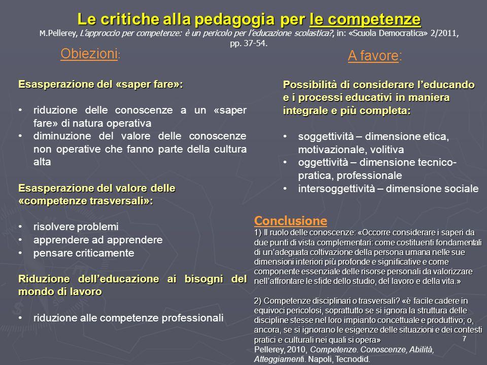 Le critiche alla pedagogia per le competenze