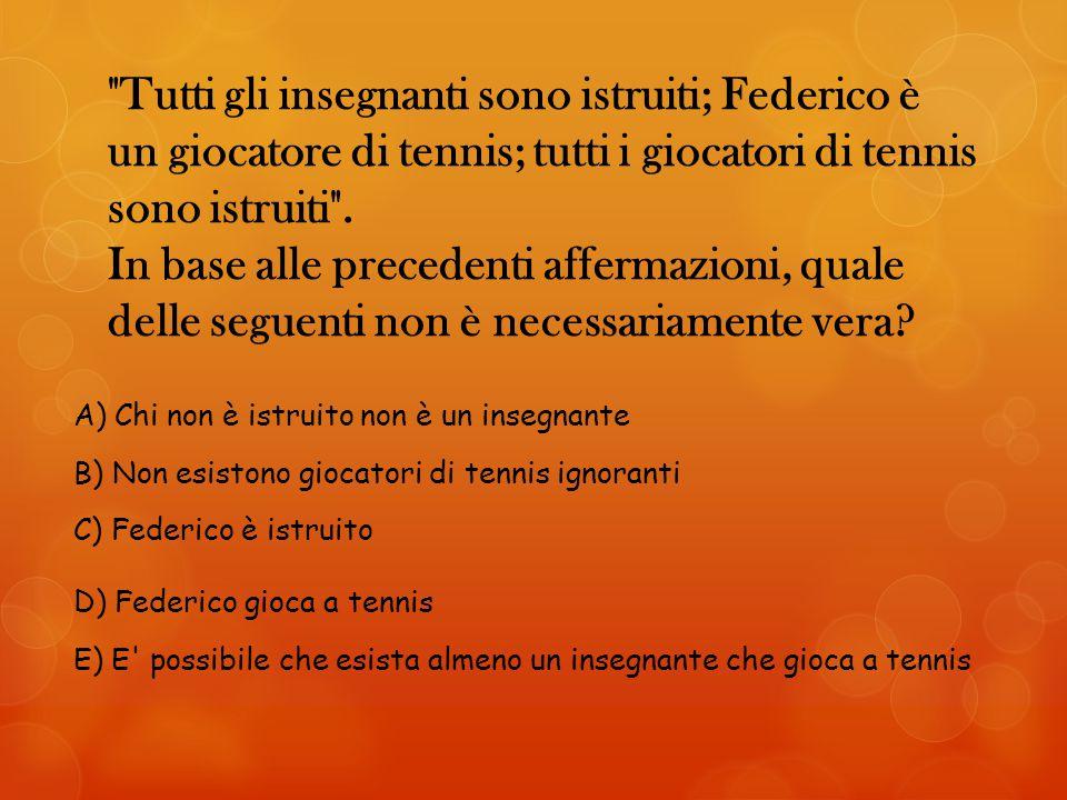 Tutti gli insegnanti sono istruiti; Federico è un giocatore di tennis; tutti i giocatori di tennis sono istruiti . In base alle precedenti affermazioni, quale delle seguenti non è necessariamente vera