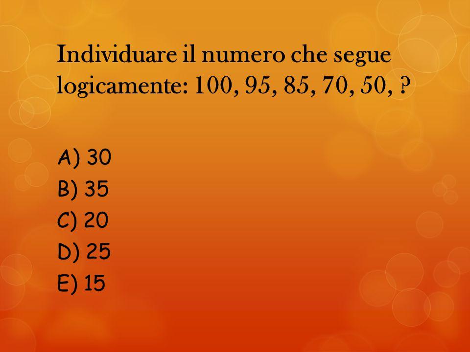 Individuare il numero che segue logicamente: 100, 95, 85, 70, 50,