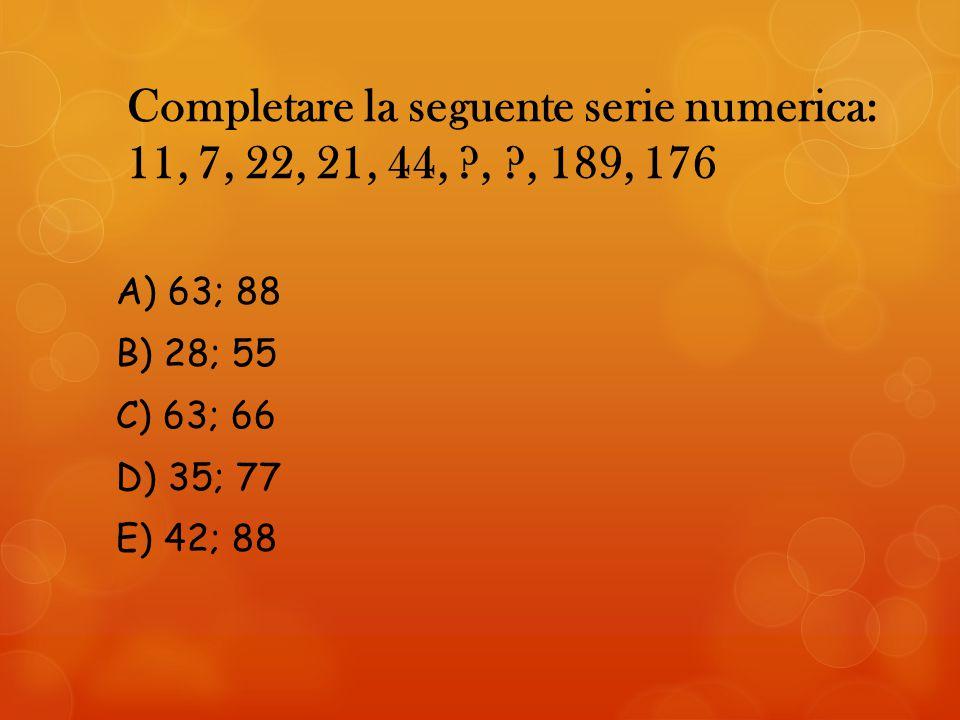 Completare la seguente serie numerica: 11, 7, 22, 21, 44,. ,