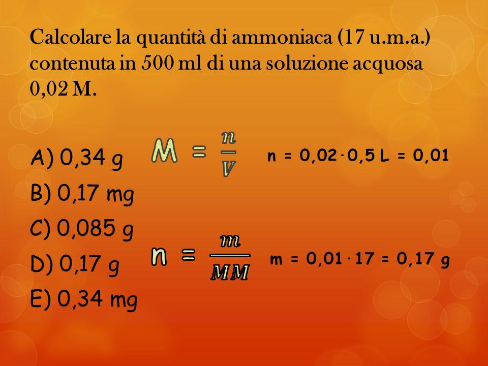 Calcolare la quantità di ammoniaca (17 u. m. a