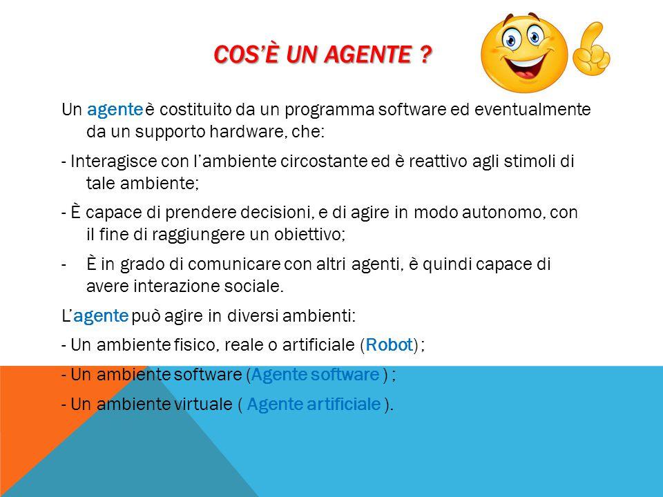 Cos'è un agente Un agente è costituito da un programma software ed eventualmente da un supporto hardware, che: