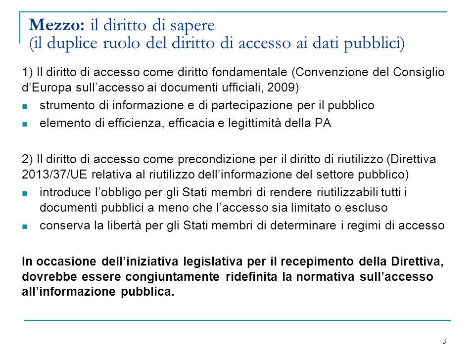 Mezzo: il diritto di sapere (il duplice ruolo del diritto di accesso ai dati pubblici)