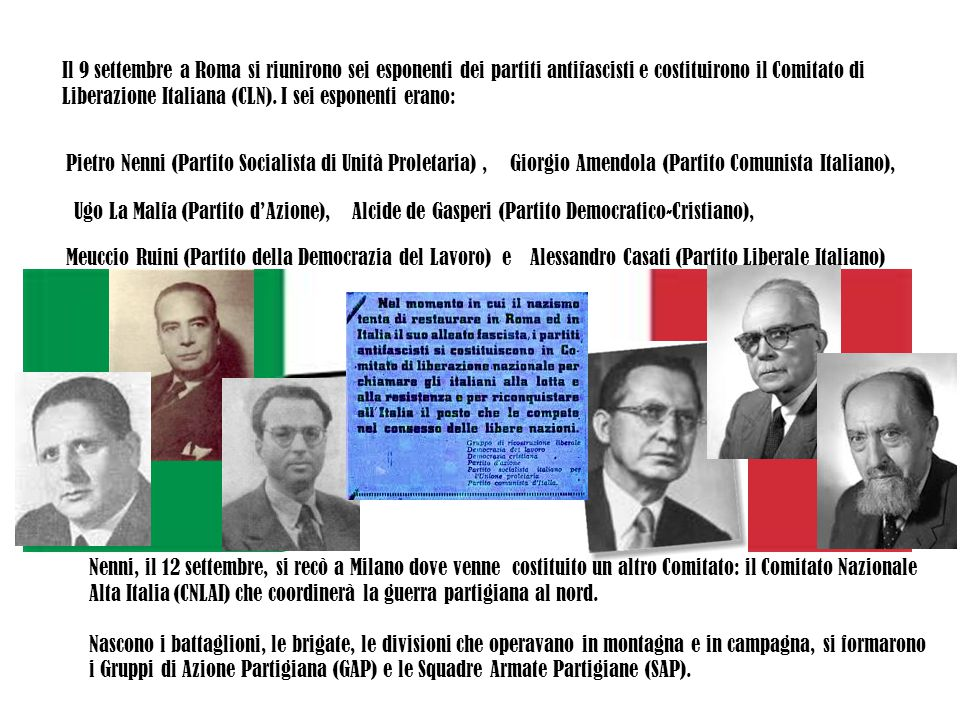 Il 9 settembre a Roma si riunirono sei esponenti dei partiti antifascisti e costituirono il Comitato di