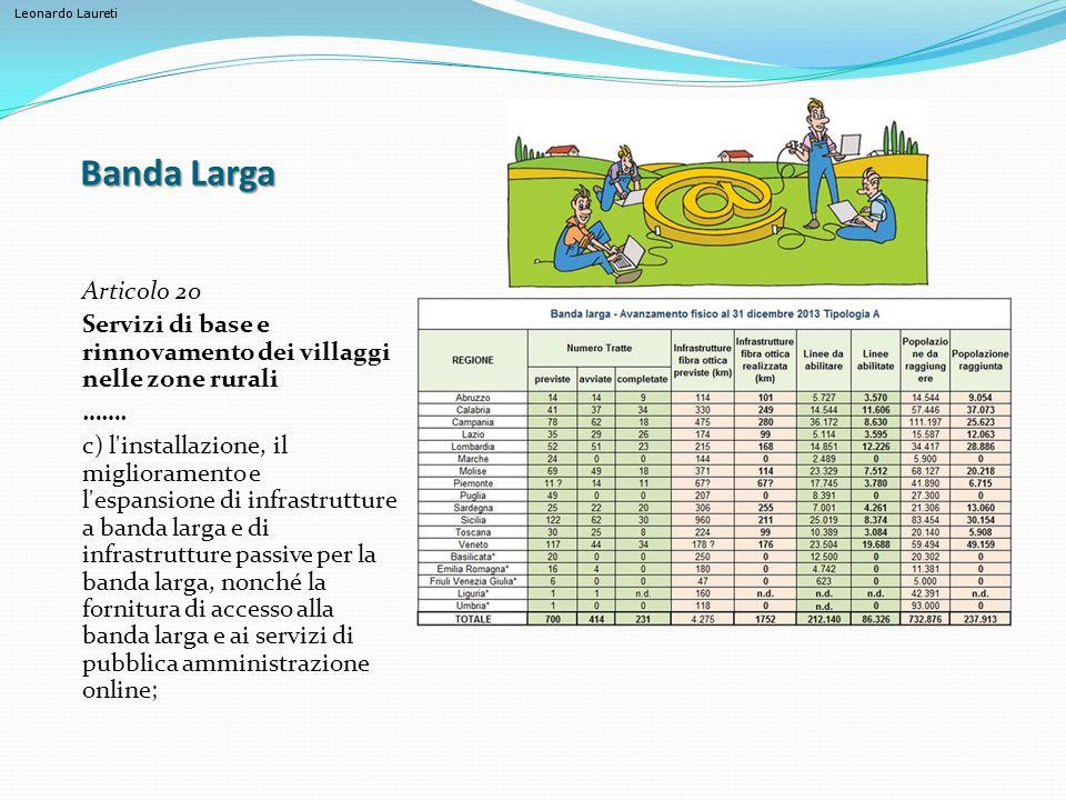 Banda Larga Articolo 20. Servizi di base e rinnovamento dei villaggi nelle zone rurali. …….