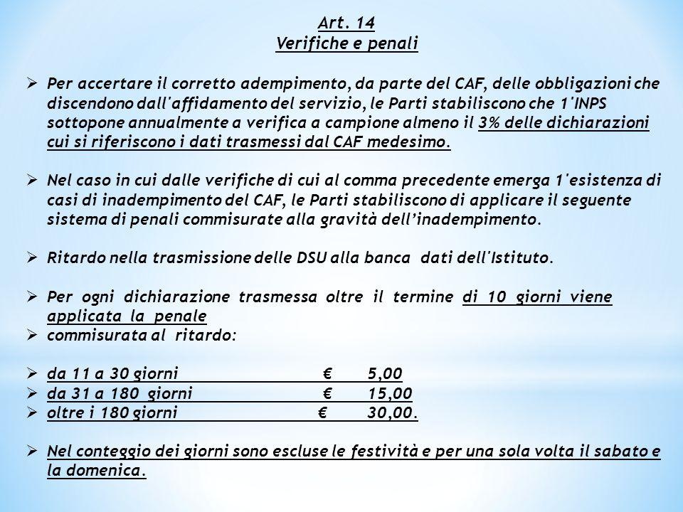 Art. 14 Verifiche e penali.