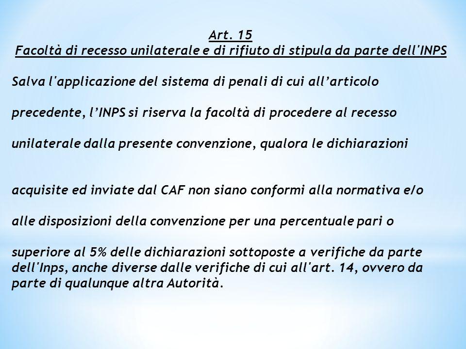 Art. 15 Facoltà di recesso unilaterale e di rifiuto di stipula da parte dell INPS. Salva l applicazione del sistema di penali di cui all'articolo.