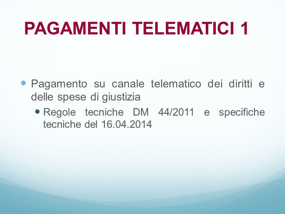 PAGAMENTI TELEMATICI 1 Pagamento su canale telematico dei diritti e delle spese di giustizia.