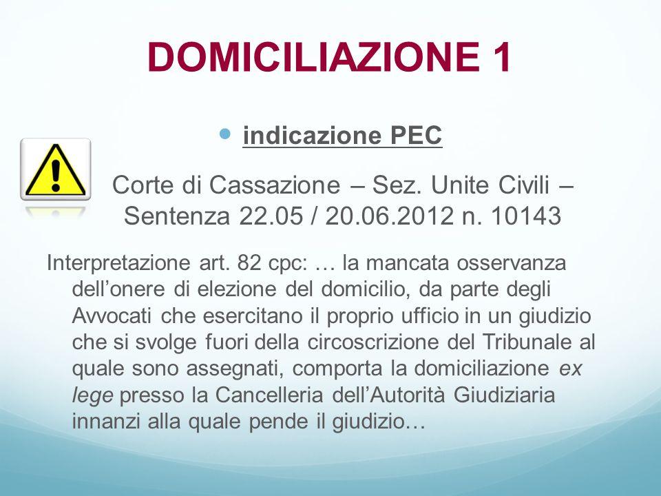 DOMICILIAZIONE 1 indicazione PEC