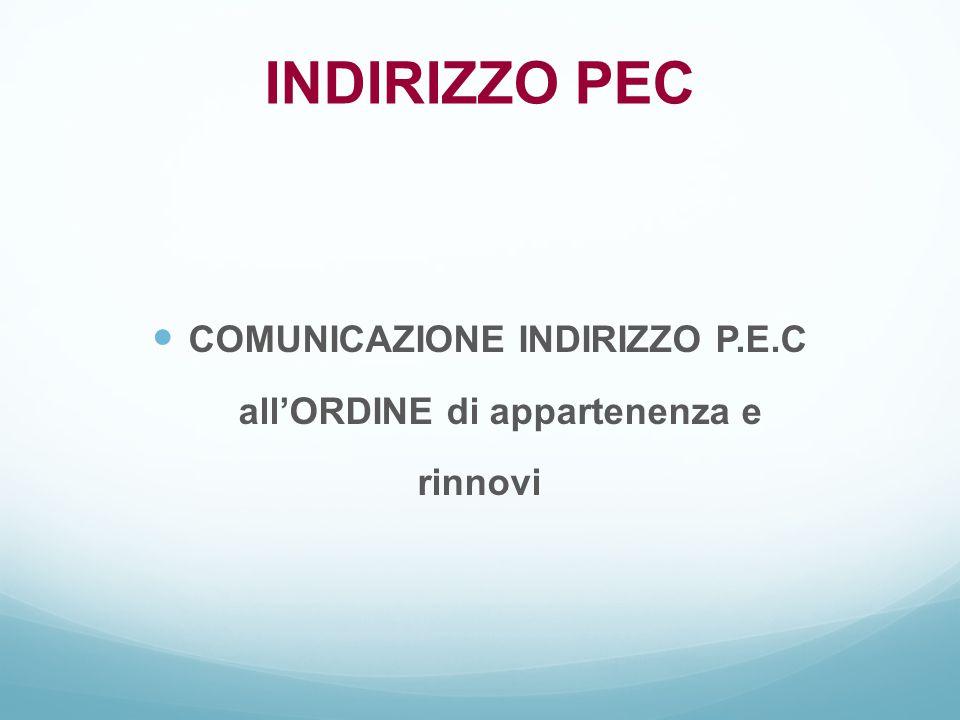 COMUNICAZIONE INDIRIZZO P.E.C all'ORDINE di appartenenza e