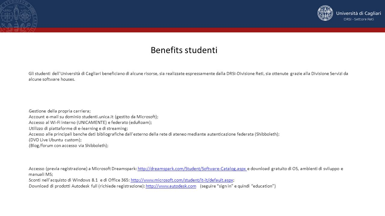 Benefits studenti