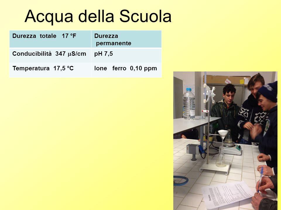 Acqua della Scuola Durezza totale 17 °F Durezza permanente